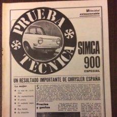 Coleccionismo Papel Varios: REPORTAJE AUTOMÓVIL SIMCA 900 DE 1975. Lote 99305112