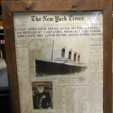 Coleccionismo Papel Varios: FOTO AMPLIADA DE LA PORTADA NEW YORK TIMES DEL HUNDIMIENTO TITANIC. Lote 99568899