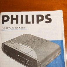 Coleccionismo Papel Varios: INSTRUCCIONES RADIO RELOJ DESPERTADOR PHILIPS AJ 3040. Lote 99914199