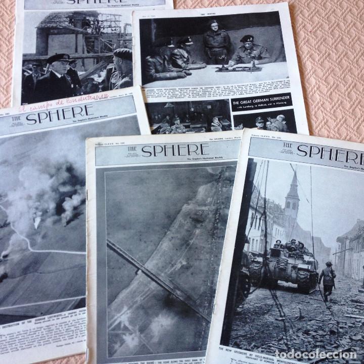 THE SPHERE- 5 REVISTAS DE 1945- GUERRA MUNDIAL- EN INGLES- (Coleccionismo en Papel - Varios)