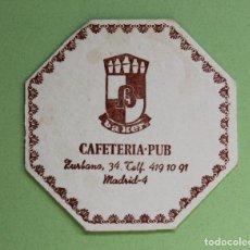 Coleccionismo Papel Varios: ANTIGUO POSAVASOS CARTÓN CAFETERIA PUB BAKER. Lote 100748415