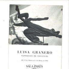 Coleccionismo Papel Varios: LUISA GRANERO. EXPOSICIÓN DE ESCULTURA. SALA PARÉS 1840. Lote 101311335