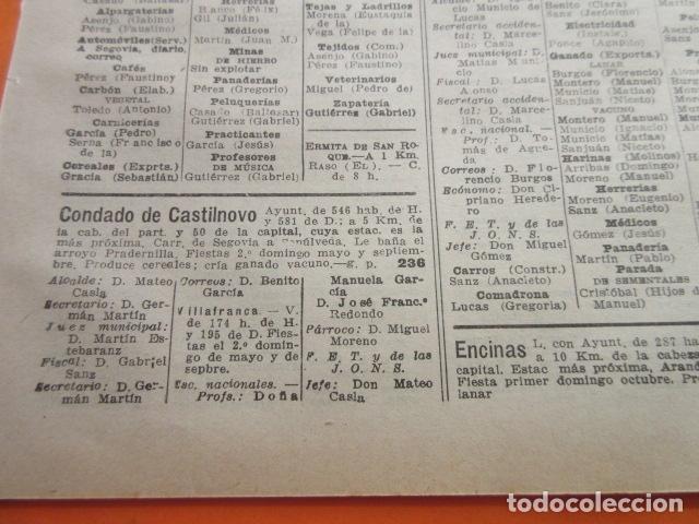 SEGOVIA 1947 - CEREZO ARRIBA CONDADO CASTILNOVO DURATON DURUELO ENCINAS FRENOS FUENTE GAL- LEER INT. (Coleccionismo en Papel - Varios)