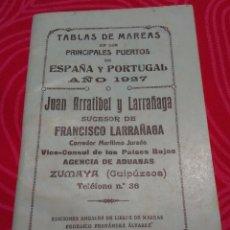 Coleccionismo Papel Varios: TABLA DE MAREAS 1927. Lote 101780987