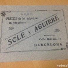 Coleccionismo Papel Varios: ANTIGUO CATALOGO MODERNISTA MERCERIA ALGODONES PAQUETERIA SOLÉ Y AGUIRRE BARCELONA 1914. Lote 101974355