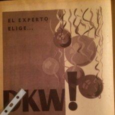 Coleccionismo Papel Varios: PUBLICIDAD FURGONETA DKW DE 1961. Lote 102019599