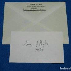 Coleccionismo Papel Varios: (M) AUTOGRAFO ORIGINAL DE MR GEORGE STIGLER , ECONOMISTA UNIVERSIDAD DE CHICAGO. Lote 102722307