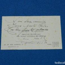 Coleccionismo Papel Varios: (M) TARJETA AUTOGRAFIADA DE PEDRO CHICOTE 1970 , DIRECTOR DEL MUSEO UNIVERSAL DE BEBIDAS. Lote 102724207