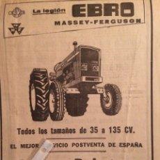 Coleccionismo Papel Varios: PUBLICIDAD TRACTORES EBRO MASSEY FERGUSON DE 1977. Lote 103224855