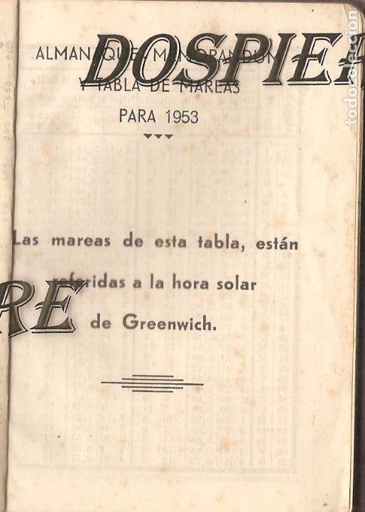 Coleccionismo Papel Varios: TABLA DE MAREAS, 1953, TALLERES GRÁFICOS EDITORIAL VASCA, BILBAO - Foto 3 - 103235615