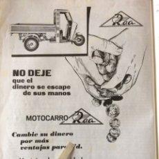 Coleccionismo Papel Varios: PUBLICIDAD MOTO MOTOCARRO ROA DE 1962. Lote 103399746