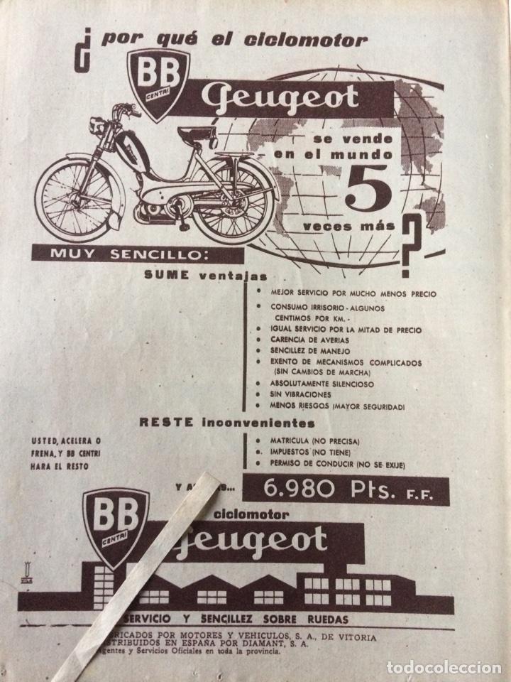PUBLICIDAD CICLOMOTOR PEUGEOT DE 1961 (Coleccionismo en Papel - Varios)