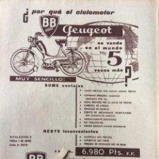 Coleccionismo Papel Varios: PUBLICIDAD CICLOMOTOR PEUGEOT DE 1961. Lote 103502606
