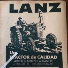 Coleccionismo Papel Varios: PUBLICIDAD TRACTORES LANZ DE 1955. Lote 103504538