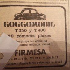 Coleccionismo Papel Varios: PUBLICIDAD AUTOMÓVIL GOGGOMOBIL DE 1965. Lote 103973379