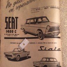 Coleccionismo Papel Varios: PUBLICIDAD AUTOMÓVIL SEAT 1400 Y SIATA TARRACO DE 1962. Lote 103973640