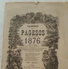 Coleccionismo Papel Varios: CALENDARI DELS PAGESOS PER L' ANY BIGEST.1876.. Lote 103985235