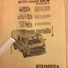 Coleccionismo Papel Varios: PUBLICIDAD FURGONETA DKW IMOSA DE 1964. Lote 104067288