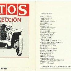 Coleccionismo Papel Varios: AUTOS DE COLECCIÓN. 60 FICHAS + ÍNDICE + HOJA DE ADHESIVOS. (PLANETA-DE AGOSTINI, 1992) . Lote 104203263