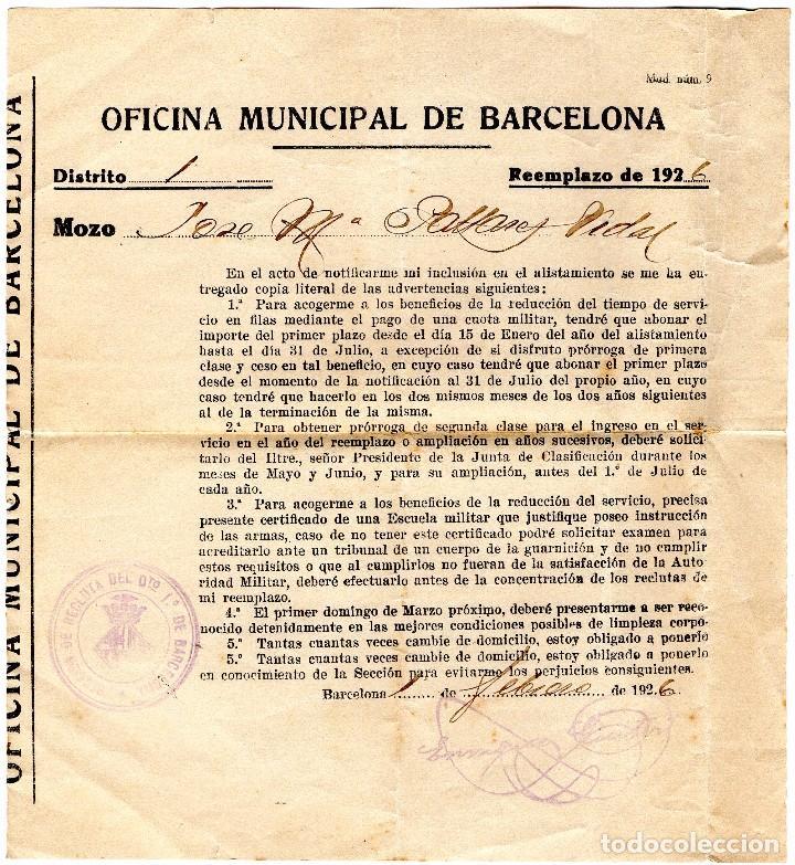 ALISTAMIENTO MILITAR AÑO 1926 (Coleccionismo en Papel - Varios)