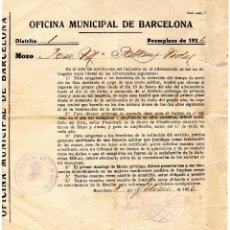Coleccionismo Papel Varios: ALISTAMIENTO MILITAR AÑO 1926. Lote 104608159