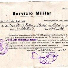 Coleccionismo Papel Varios: SERVICIO MILITAR AÑO 1926 BARCELONA . Lote 104616399