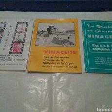 Coleccionismo Papel Varios: 3 PROGRAMAS DE FIESTAS DE VINACEITE TERUEL ARAGON AÑOS 80. Lote 105385090
