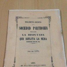 Coleccionismo Papel Varios: REGLAMENTO ADICIONAL SOCIEDAD MINERA LA DISPUTADA MINA IBÈRIA LORCA MURCIA 1875. Lote 106779191