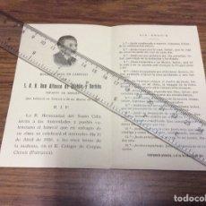 Coleccionismo Papel Varios: S. A. R. ALFONSO DE BORBON Y BORBON.ESQUELA MORTUARIA DEL FUNERAL. VALENCIA.AÑO 1956.. Lote 107104510
