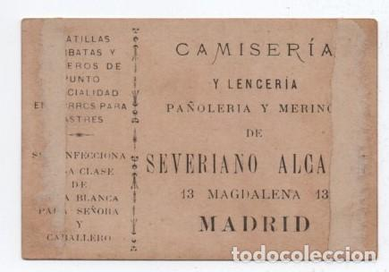 Coleccionismo Papel Varios: (TC-101) CROMO PUBLICIDAD CAMISERIA SEVERIANO ALCALDE MADRID - Foto 2 - 107398511