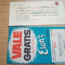 Altri oggetti di carta: 2 VALES DE COMPRA ANTIGUOS. Lote 109494379