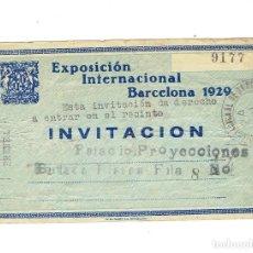 Coleccionismo Papel Varios: INVITACION PRENSA EXPOSICION INTERNACIONAL BARCELONA 1929 MECANOGRAFIADA Y ANOTACIONES EN EL REVERSO. Lote 108846643