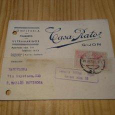 Coleccionismo Papel Varios: TARJETA POSTAL DE PEDIDO CASA RATO GIJÓN A EMILIO ROVIROSA BARCELONA. COINTREAU. CENSURA MILITAR. Lote 109157620