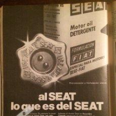 Coleccionismo Papel Varios: PUBLICIDAD AUTOMÓVIL ACEITE SEAT DE 1979. Lote 109221787