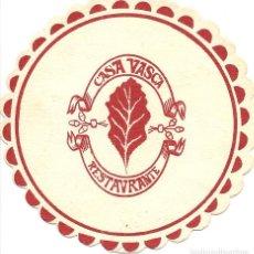 Coleccionismo Papel Varios: POSAVASOS-COASTERS, CASA VASCA, RESTAURANTE, DEUSTO-BILBAO, CARTÓN. Lote 109461447