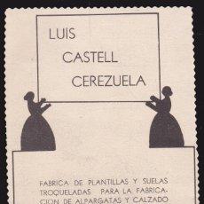 Coleccionismo Papel Varios: PUBLICIDAD ·· LUIS CASTELL CEREZUELA - ELCHE .. Lote 110077755