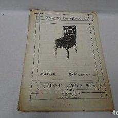 Coleccionismo Papel Varios: MANUAL TÉCNICO, PIN BALL, PAPILLON, RECREATIVOS. Lote 110111943