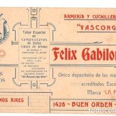 Coleccionismo Papel Varios: TARJETA DE VISITA ARMERIA Y CUCHILLERIA VASCONGADA FELIX GABILONDO. BUENOS AIRES. ARGENTINA.. Lote 110205042