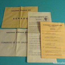 Coleccionismo Papel Varios: ELECCIONES GENERALES 1979. PAPELETAS UCD Y SOBRES PARA CONGRESO Y SENADO. VALENCIA. Lote 180435318
