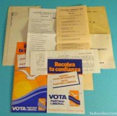 Coleccionismo Papel Varios: ELECCIONES GENERALES 1979. PAPELETAS PARTIDO LIBERAL Y SOBRES PARA CONGRESO Y SENADO. VALENCIA. Lote 111495307