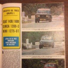 Coleccionismo Papel Varios: REPORTAJE AUTOMÓVIL SEAT 1430 1600 SIMCA 1200 S MINI 1275 GT DE 1974. Lote 111800895