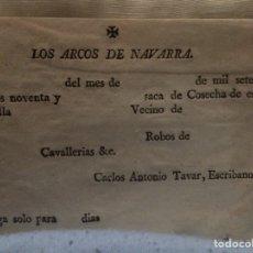 Coleccionismo Papel Varios: RECIBO 1790 LOS ARCOS NAVARRA RARO. Lote 112270470