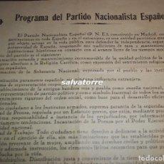 Outros artigos de papel: PROGRAMA PARTIDO NACIONALISTA ESPAÑOL.LEGIONARIOS DE ALBIÑANA.GUERRA CIVIL.1936. Lote 112937843