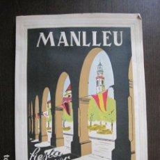 Coleccionismo Papel Varios: MANLLEU - FIESTA MAYOR 1952 - PROGRAMA DE FIESTAS - PUBLICIDAD -VER FOTOS-(V-13.490). Lote 113089071