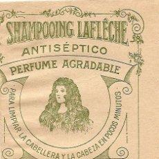 Coleccionismo Papel Varios: SHAMPOOING LAFLÊCHE - SOBRE CONTENEDOR DE POLVOS PARA CHAMPÚ. Lote 26767617