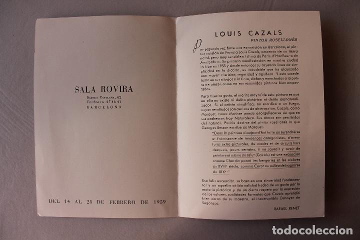 Coleccionismo Papel Varios: EXPOSICIÓN LOUIS CAZALS, PINTOR ROSELLONÉS, 1959, INVITACIÓN - Foto 2 - 113789635