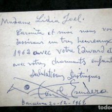 Coleccionismo Papel Varios: POSTAL MANUSCRITA Y DEDICADA POR EL BAILARIN VICENTE ESCUDERO - 1961 - 15 X 10CM -. Lote 113851083