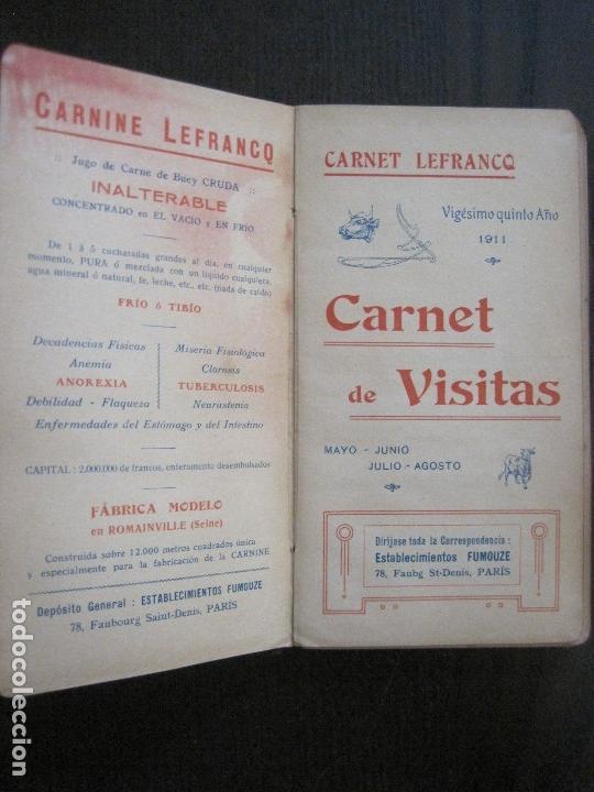 Coleccionismo Papel Varios: CARNET DE VISITAS - CARNET LEFRANCQ -AÑO 1911 -VER FOTOS-(V-13.722) - Foto 2 - 114278687