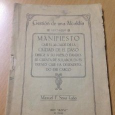 Coleccionismo Papel Varios: AYUNTAMIENTO DE LA CIUDAD DE EL PASO SANTA CRUZ DE TENERIFE SOSA TAÑO 1930. Lote 114339663