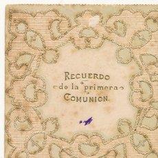 Coleccionismo Papel Varios: RECORDATORIO PRIMERA COMUNIÓN 1904 VALENCIA SANTOS JUANES CON BORDADO. Lote 114586795